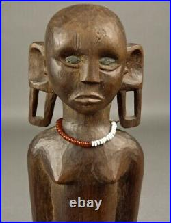 Fine Old KAMBA FIGURE Inlaid Eyes Wood Sculpture Carving TANZANIA African Africa