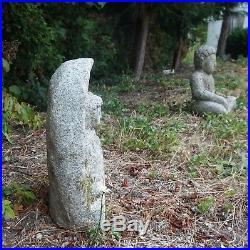 Fine Old Korean Hand Carved Granite Stone Meditating Buddha