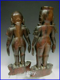 Fine Old Pair Antique India Indian Wood Shrine Carvings of a Domestic Couple