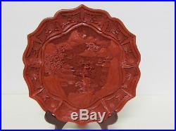 Fine Old or Antique Chinese Carved Landscape Design Cinnabar Plate with stand