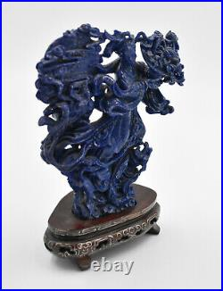 Fine Ornate Carved Lapis Lazuli Statue Figure Chinese GUANYIN on Wooden Stand
