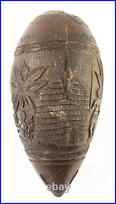 Fine Pacific Tribal Ethnographic Oceanic Carved Coconut Fijian Tongan Islanders