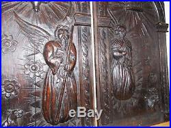 Fine Pair 16th Century Carved Oak Panels St Paul St Peter With Guardian Beasts