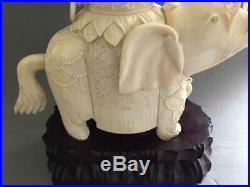 Fine Pair Antique Chinese Carved Seated Kwan Yin Signed