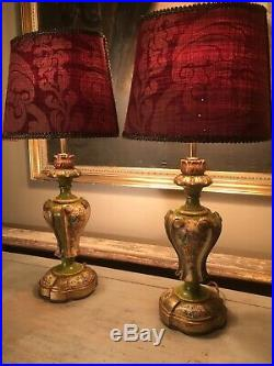 Fine Pair Of AntIque Carved Wood Hand Decorated Florentine Table Lamps Refurbish