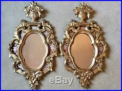 Fine Pair Of Antique Carved Gilt Wood Mirrors With Painted Glass Panels 80x45cm