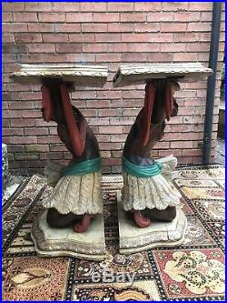 Fine Pair Of Blackamoor Carved Gilt Wood Marble Top Console Tables