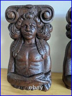 Fine Pair Of Elizabethan Carved Oak Terms