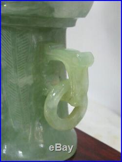 Fine Pair Of Hand Carved Antique Jade Vases On Huanghuali Wood Look Make Offer