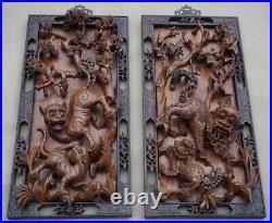 Fine Pair Of Hardwood Carved Korean Tiger Panels, Joseon Dynasty