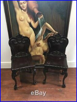 Fine Pair Regency Style Carved Elm Classical Hall Seats