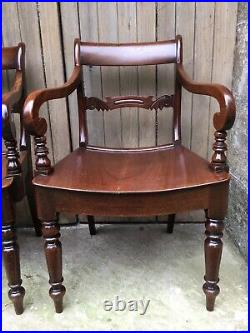 Fine Pair William IV Carved Mahogany Carver Open Arm Turned Chairs Bentwood Seat