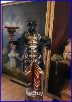 Fine Pair of 19th Century Venetian Carved Blackamoor Torchere Statues Circa 1870