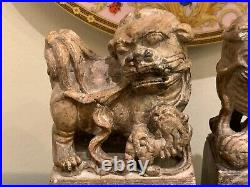 Fine Pair of Antique Chinese Carved Stone Foo Dogs Statues