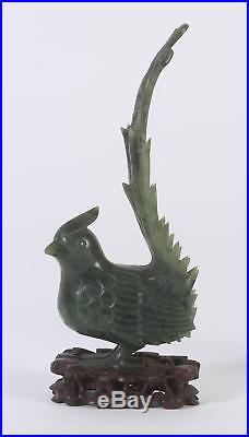 Fine Pair of China Chinese Carved Jade Phoenix Birds ca 1920's possibly earlier