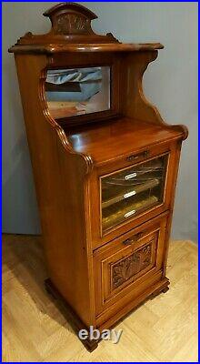 Fine Quality Antique Carved Mahogany Edwardian Sheet Music Cabinet Twin Cupboard
