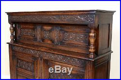 Fine Quality Antique Carved Oak Court Cupboard Sideboard Jacobean Country