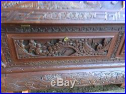 Fine Quality Antique Style 1930's Oriental Carved Library Home Office Study Desk
