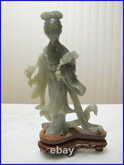 Fine Quality Hand Carved Chinese Natural Jade Lady Statue Sculpture Wood Stand