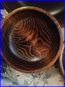 Fine Quality Midcentury Vintage Rosewood Carved Salad Bowl With6 Side Salad Bowls