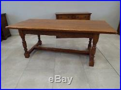 Fine Quality Solid Oak Refectory Dining Table Carved Frieze 7ft
