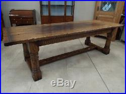 Fine Quality Solid Oak Refectory Dining Table Carved Frieze 8.5ft