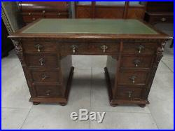 Fine Quality Victorian Antique Carved Oak & Inlaid Twin Pedestal Desk