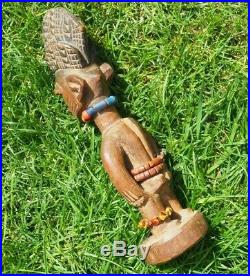 Fine Quality West African Yoruba Nigerian Carved Wooden Female Ibeji With Beads