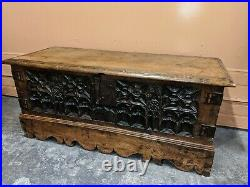 Fine Rare 15th Century Medieval Gothic Carved Oak Chest