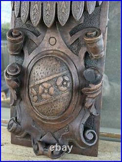 Fine Rare 16th Century Elizabethan Carved Walnut Armorial Panel