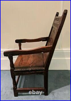 Fine Rare 17th Century Charles II Carved Oak Wainscot Chair Dated 1665
