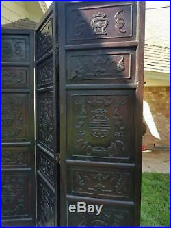 Fine Rare ANtique Qing Dynasty Chinese Hongmu Rosewood Highly Carved Screen