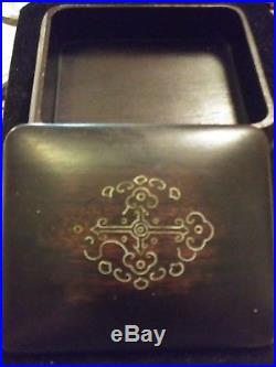 Fine, Rare Antique18th Chinese Carved Zitan Covered Box & Tray withcross inlay