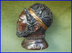 Fine & Rare Antique Blackamoor Nubian Carved Man's Head Inkwell With Glass Eyes