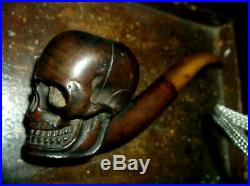 Fine & Rare Antique Carved Treen Hard Wood Skull Pipe With Original Amber Stem