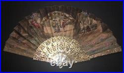 Fine Rare Antique French Grand Tour Carved Mother Of Pearl Views Scene Fan