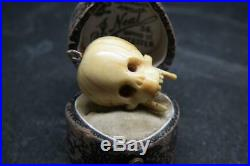 Fine Rare Antique Georgian 9ct Rose Gold Carved Memento Mori Skull Pendant Charm