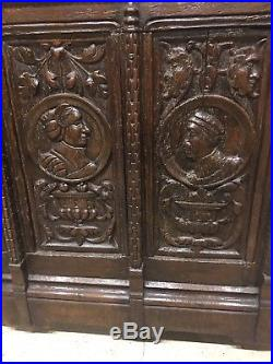 Fine Rare Early 16th Century Carved Gothic Portrait Oak Coffer Chest. C1500-1550