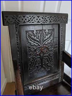 Fine Rare Original Early 17th Century James I Carved Oak Wainscot Chair c1610