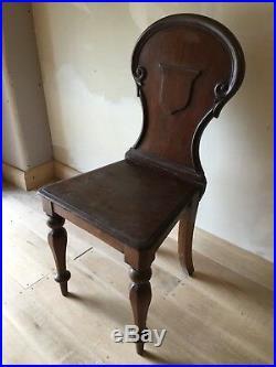 Fine Regency Mahogany Shield Back Hall Chair W Acanthus Leaf Carving circa 1815