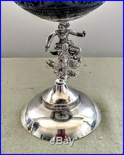 Fine Set of (3) Antique Anglo Indian Burmese Carved Coconuts, Silver Figures