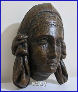 Fine Small 16th Century Tudor Carved Oak Head Of A Maiden