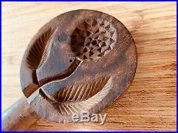 Fine Small 19th C. Antique Carved Lollipop Butter Print/Stamp/Press/Mold. AAFA