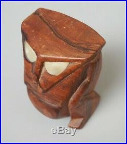 Fine Small Polynesian Micronesian Caroline Islands Carved Wooden Tiki Shell Eyes