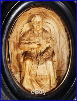 Fine VICTORIAN CARVED MEERSCHAUM RELIGIOUS PLAQUE c1870 POPE PIUS IX
