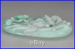 Fine Vintage Chinese Carved Dragon Apple Green Jade Lucky Amulet Pendant 70 g