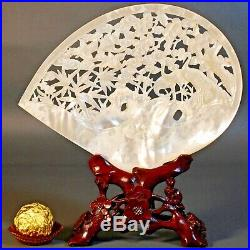 Fine Vintage Chinese Mother of Pearl Shell Carving, Wood Stand, Trees, Cranes