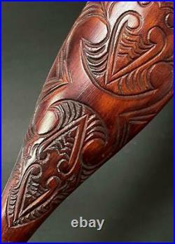 Fine Vintage Maori Dance Paddle Hand Carved In Rotorua New Zealand Tribal