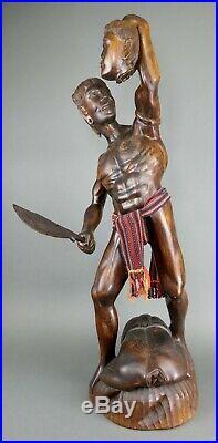Fine Vtg Bontoc Igorot Native Carved Wood Headhunter Statue Tribe Philippines