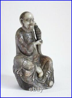 Fine antique 19th century Chinese soapstone carving of a Luohan